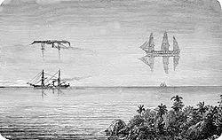 رسم توضيحي يبين صورة لسفينتين وكيف لظاهرى فاتا مورغان أن تؤثر في شكلهما وإنعكاساتهما