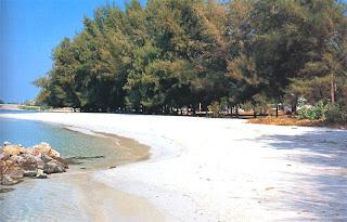 The white sandy beach