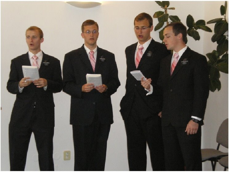 Missionaries singing at wedding