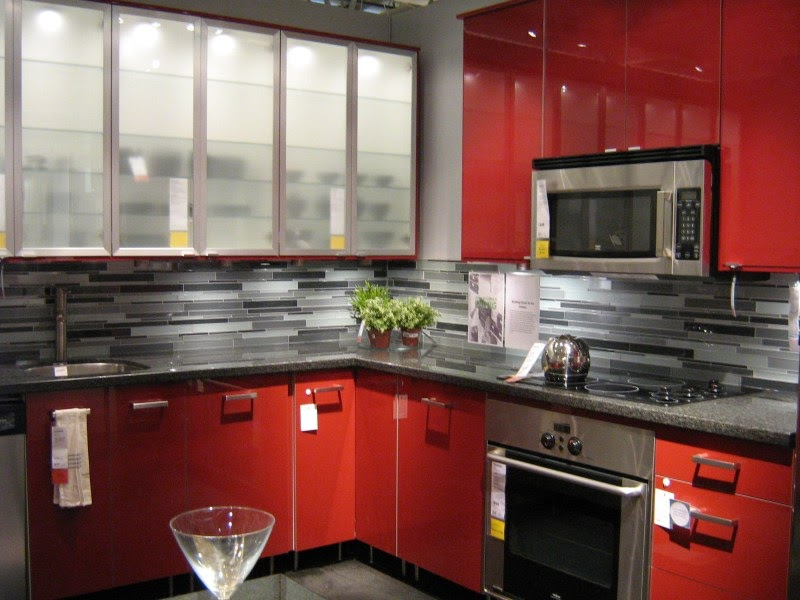 Pictures of IKEA Kitchens: Bright Red Glossy Cabinets