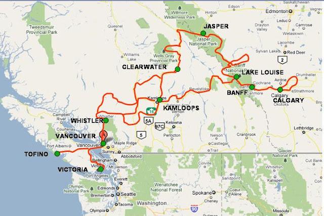 Carte Canada Ouest.Canada Ouest Periple Dans L Ouest Canadien Et Vancouver