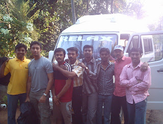 Me, Prajeesh, Deepak, Jinesh, Aneesh, Sujith, Eldo Paul and Anoop Das -- posing in front of our traveller