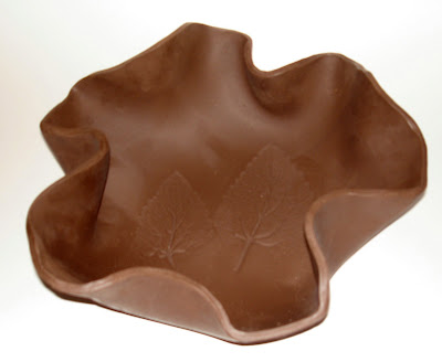 another freeform bowl impressed leaf using cassius basaltic clay