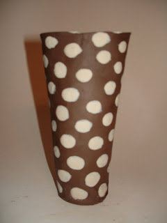 porcelain slip  dots over greenware cassius basaltic clay