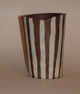 porcelain slip stripes on cassius basaltic clay greenware