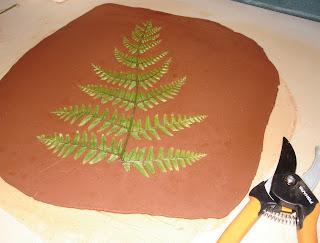 fern leaf rolled into clay