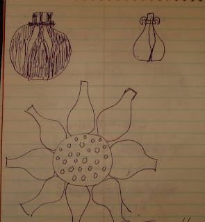 sketch of ringed petal vase and floral wall hanging
