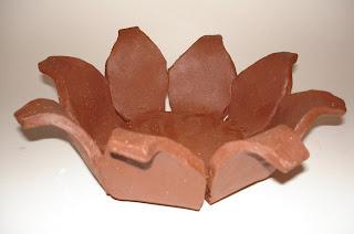 red stoneware petal bowl