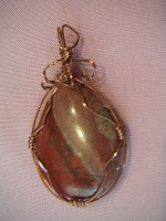 Jasper and Copper wire-wrapped pendant