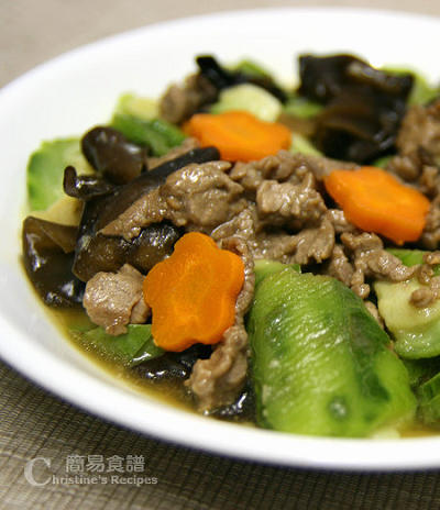 絲瓜雲耳炒牛肉 Stir-fried Loofah with Beef and Black Fungus02