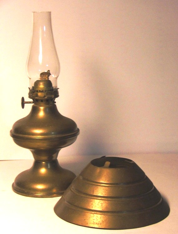 Antique Br Oil Lamp Chimney Shade Base