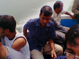 On the speed boat.... at the time of return .. hey hey don look at my bald head