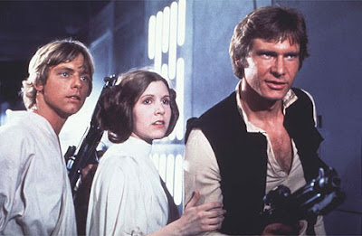 Mark Hamill, Carrie Fisher y Harrison Ford en 'Star Wars'