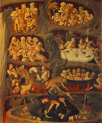 Pintura do Inferno, segundo os Sete Pecados Mortais... + Ó meu Jesus, perdoai-nos e livrai-nos do fogo do Inferno; levai as almas todas para o Céu, principalmente as que mais precisarem!