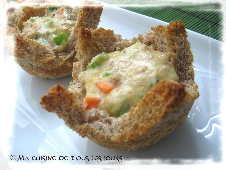 Ma cuisine de tous les jours une id e pour les repas du midi super simple tartelettes en pain - Repas de tous les jours ...