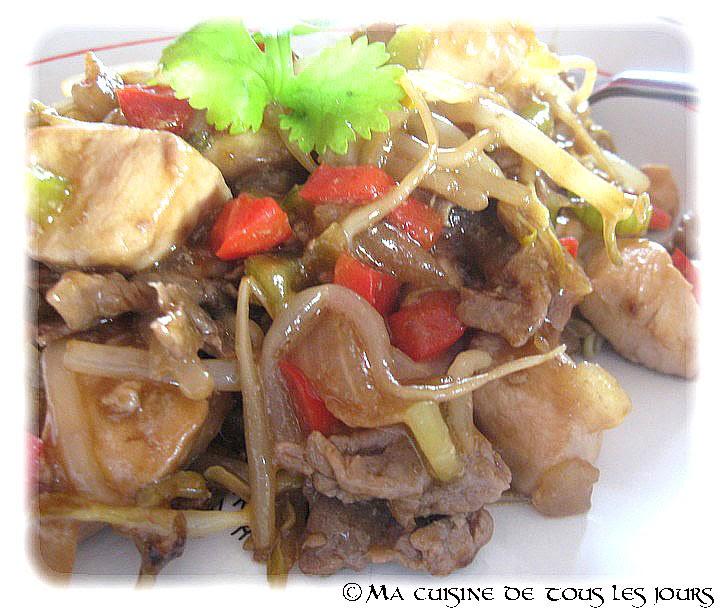 Chop suey au poulet et au boeuf