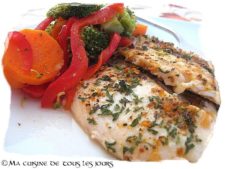 Filets de poisson la cajun salade de l gumes chaude for Salade poisson