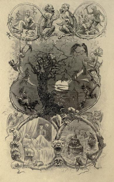 Vintage Ephemera Book Illustration Devils Witches Owls