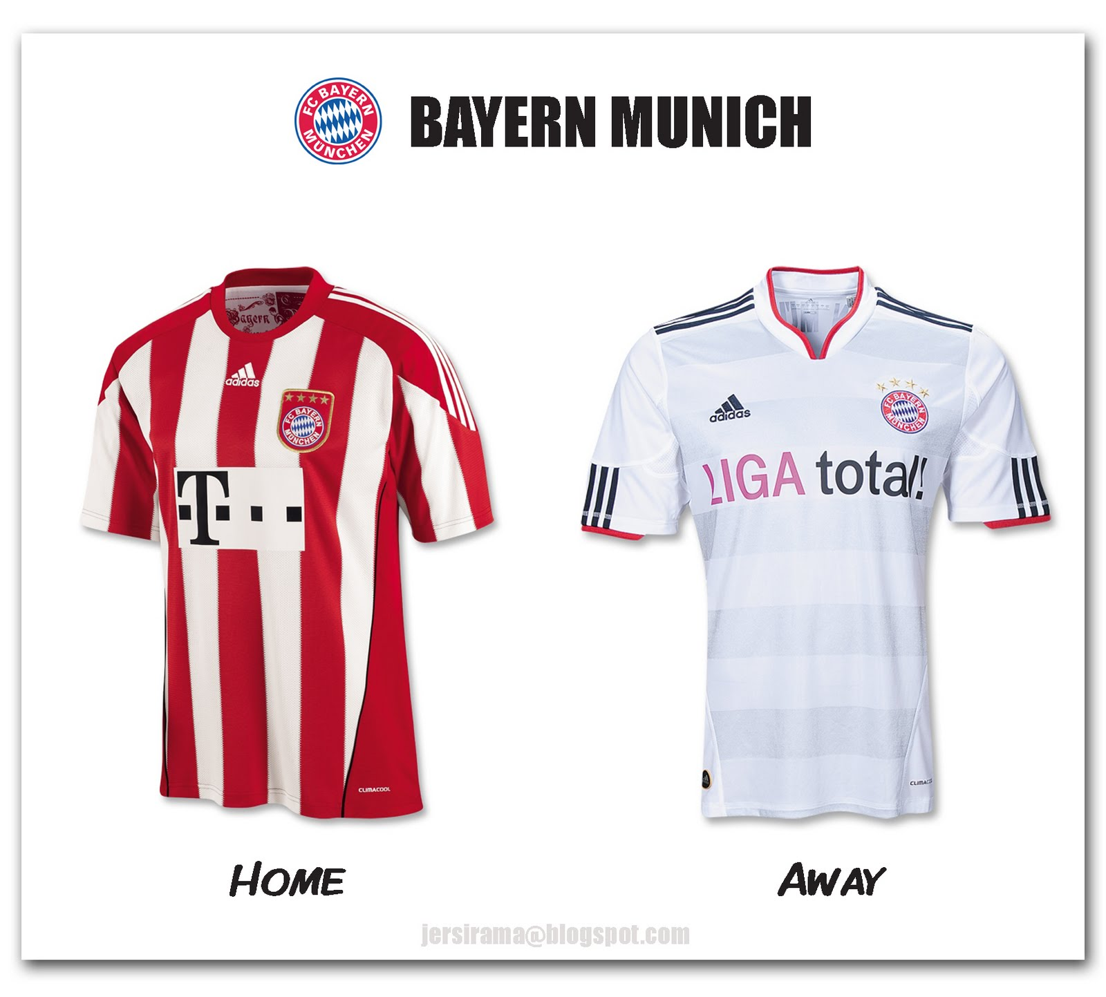 e5df71d8d Bayern Munich Home   Away Jersey 2010 2011