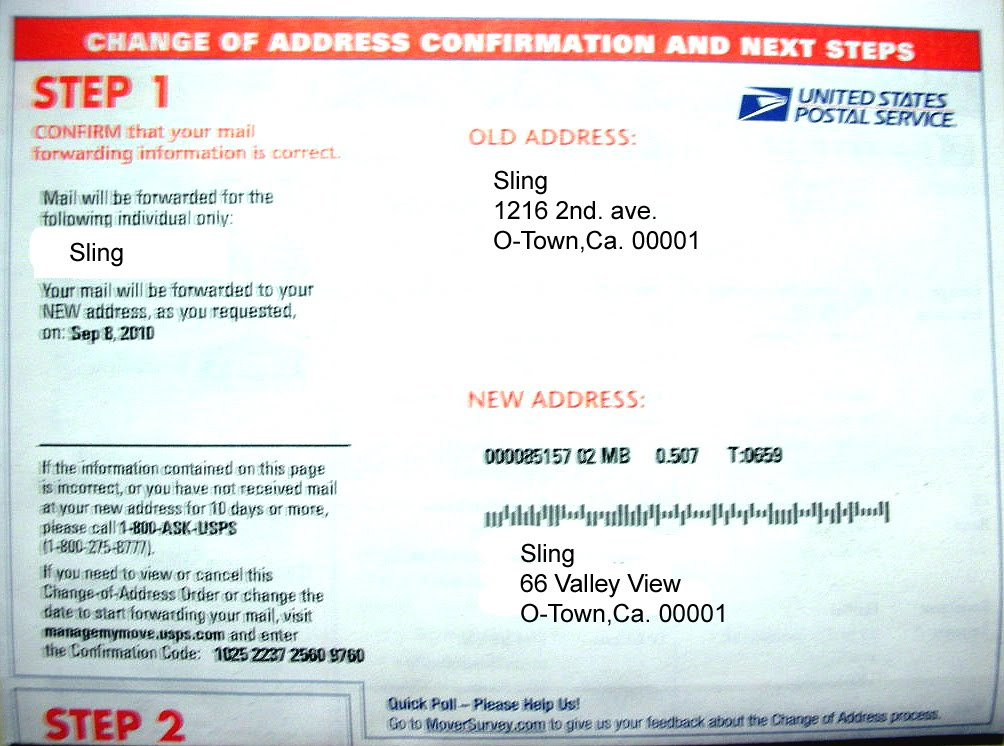 Postal Office Address Change Pictures