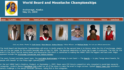 This is a screenshot of the World Beard and Moustache Championships webpage.