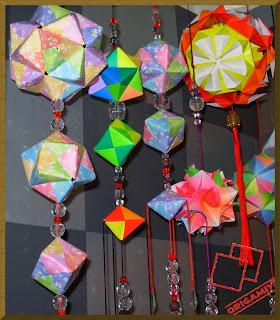 origami kusudama móbile dobradura
