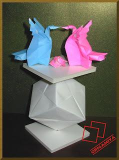 cisne origami rosa kawasaki dobradura cubo sonobe