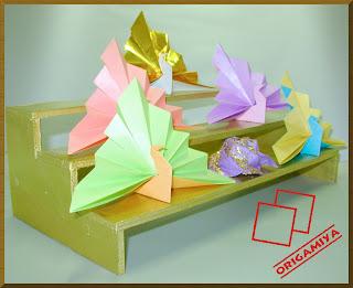 origami dobradura pavão