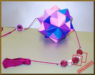origami dobradura kusudama móbile