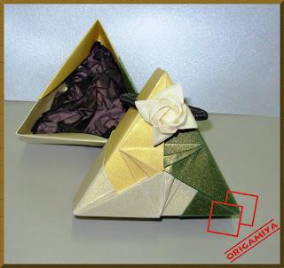 origami dobradura caixa triangular tomoko fuse