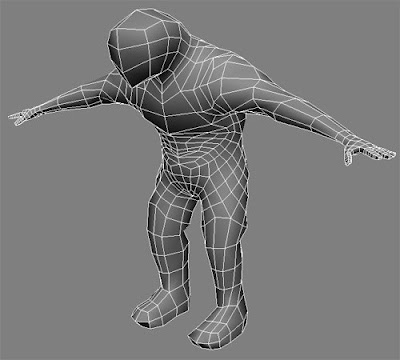 A shaded view with wire-frame of my progress with the Death Eater 3D Model