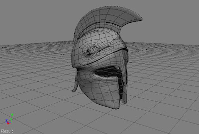 The wireframe for my first spartan helmet