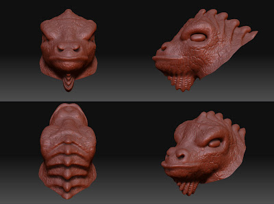 Pictures showing my Fire Salamander's head currently in progress