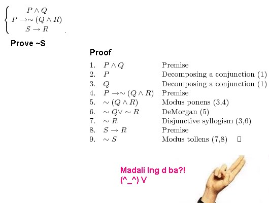 Rules of inference and logic proofs.