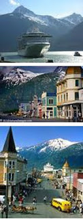 small images of a cruise ship and downtown Skagway AK