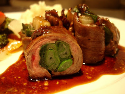 Beef Negimaki - rolled flank steak with green onions. Japanese food made at home