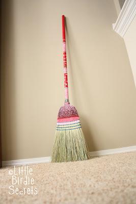 sweep me off my feet painted broom tutorial little birdie secrets