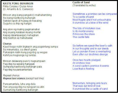 Kastilyong buhangin lyrics