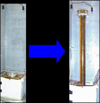 Tubo sin inflar a la izq; tubo inflado a la derecha