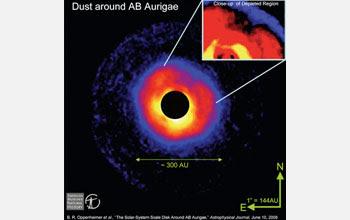 Ilustración:Un objeto parece estar formándose alrededor de la estrella AB Aurigae