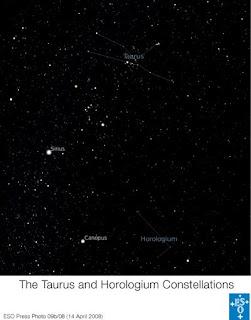 Constelaciones Tauro y Horologium