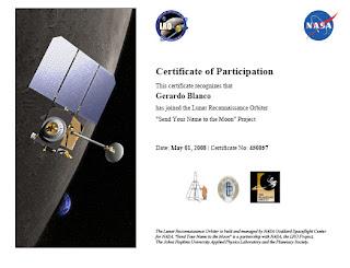 Certificado de envío de nombre para la misión LRO a la Luna