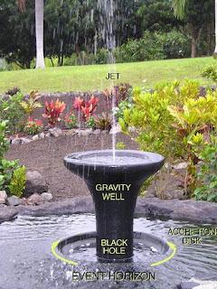La fuente que representa el agujero negro en Galaxy Garden