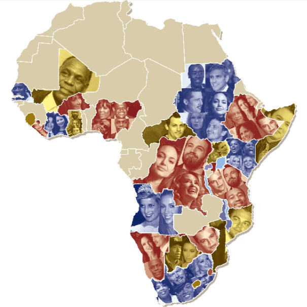 An interactive map of the celebrity recolonization of Africa         Mother Jones magazine has put together a fun interactive map outlining  which American celebrities have been most involved in which African  countries