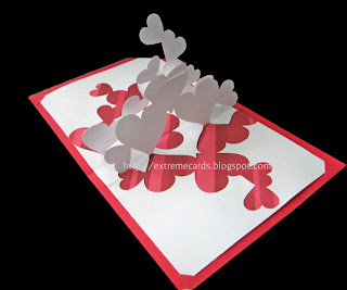 hearts pop up card
