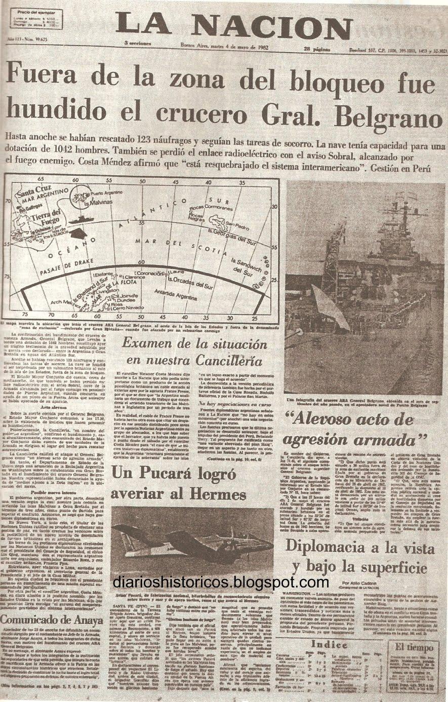 Diarios Históricos: Guerra de Malvinas. Hundimiento del