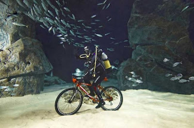 Man cycling underwater, also sets the record for the deepest underwater cycling