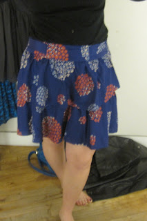 Anthropologie tiered bold skirt in real life pic