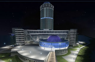 Business center Demidov at night