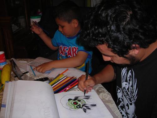 Rodrigo y yo dibujando juntos